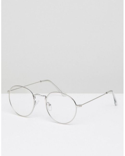 cf7a31d8d5 ASOS - Metallic Round Glasses In Silver Metal With Clear Lens for Men - Lyst  ...