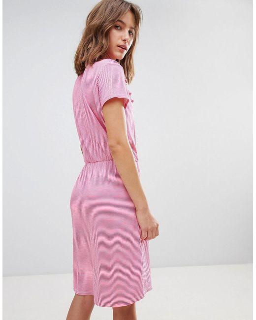 V Panel High Neck Dress - Pink Ichi sM1AxoQUhY