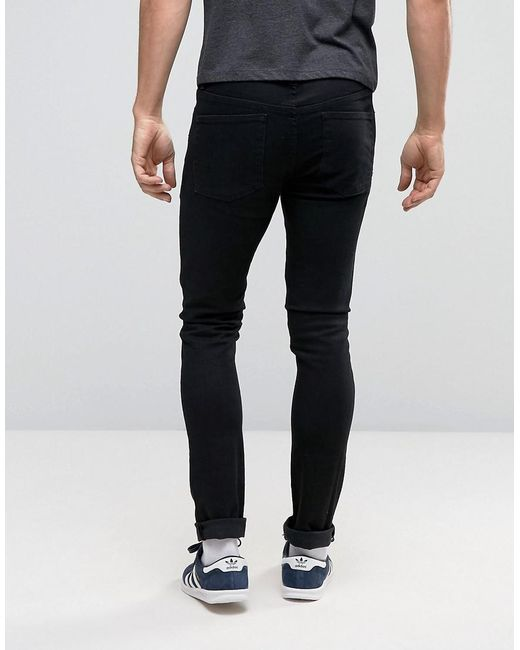 Super Skinny Jeans With Knee Rips In Black - Black Noak YopD8