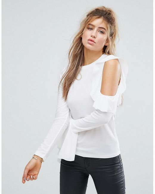 ASOS - White Top In Crepe With Pretty Ruffle Sleeves & Cold Shoulders - Lyst