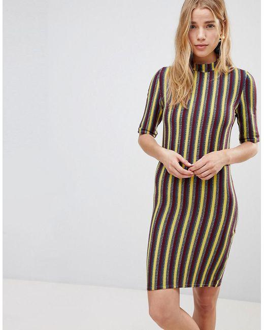 First & I - Multicolor Stripe Bodycon Dress - Lyst