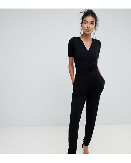 elegant shoes professional website new concept Women's Black Asos Design Tall Wrap Front Jersey Jumpsuit With Short Sleeve
