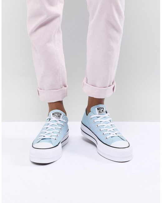 2dcf7f3fd6249 Converse Chuck Taylor All Star Platform Trainers In Blue in Blue - Lyst