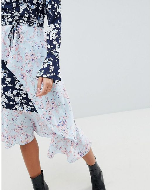 Mixed Floral Asymmetric Dress - Blue Missguided zvA2mU1AQ