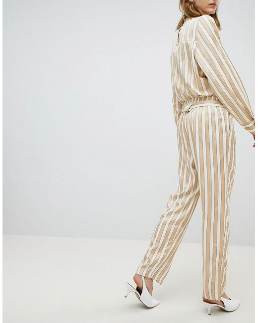 Metallic Striped Wide Leg Trouser With Belt - Multi Selected KovcQv