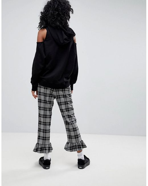 Tailored Frill Hem Trouser in Check - Check Asos