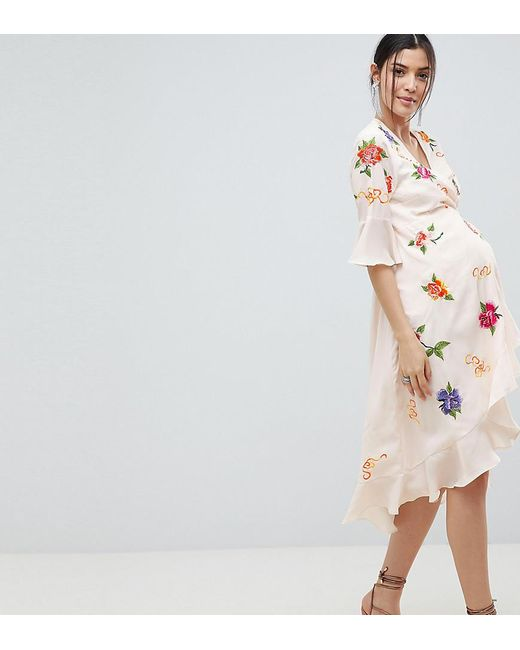 206805bf265 ASOS - Multicolor Asos Design Maternity Embroidered Wrap Midi Dress - Lyst  ...
