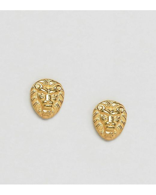 ASOS | Metallic Gold Plated Sterling Silver Lion Stud Earrings | Lyst