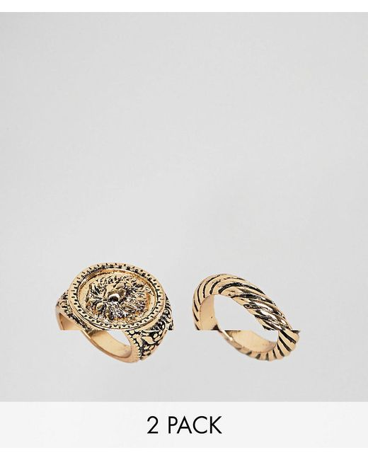 ASOS - Metallic Asos Design Curve Pack Of 2 Twist And Lion Sovereign Rings - Lyst