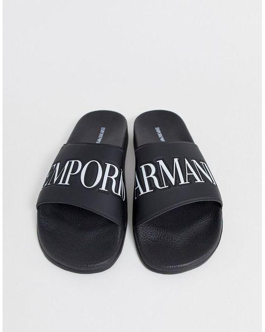 b7525e9f4 Emporio Armani Logo Sliders In Black in Black for Men - Lyst