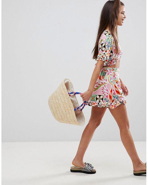 ASOS | Multicolor New Retro Print Pom Pom Wrap Mini Co-ord Skirt | Lyst