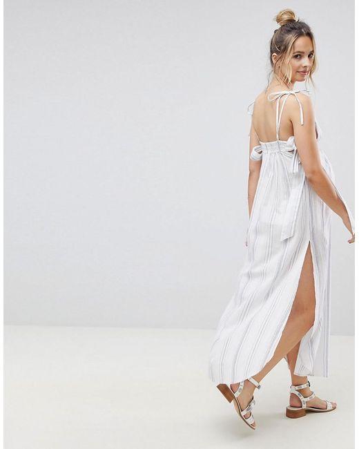 Natural Fabric Bow Front Bandeau Beach Dress - White Asos HwXo575r