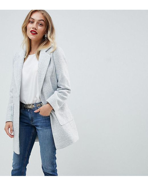 ASOS - Gray Asos Design Petite Slim Coat In Texture - Lyst
