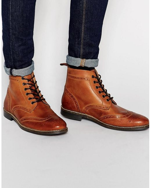 brogue boots brown in brown for lyst