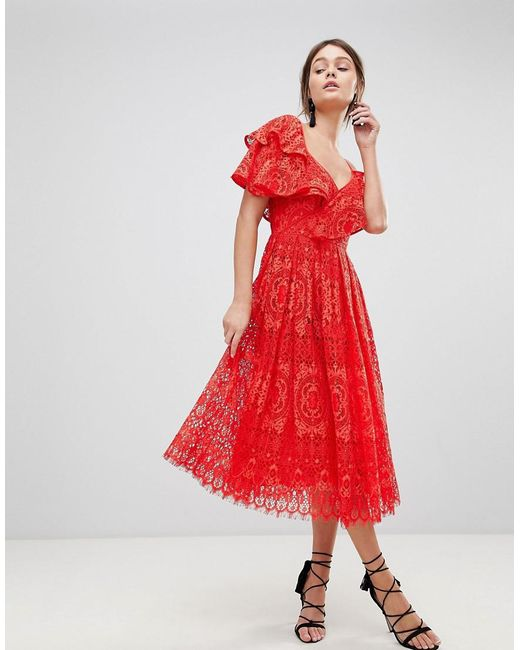 ASOS - Red Asos Ruffle One Shoulder Lace Prom Dress - Lyst