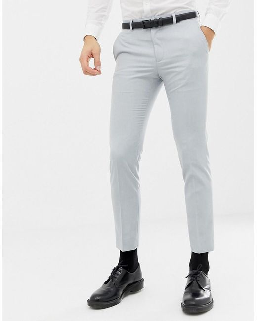a9709abf0 Moss Bros - Moss London Skinny Wedding Suit Pants In Ice Blue for Men - Lyst  ...