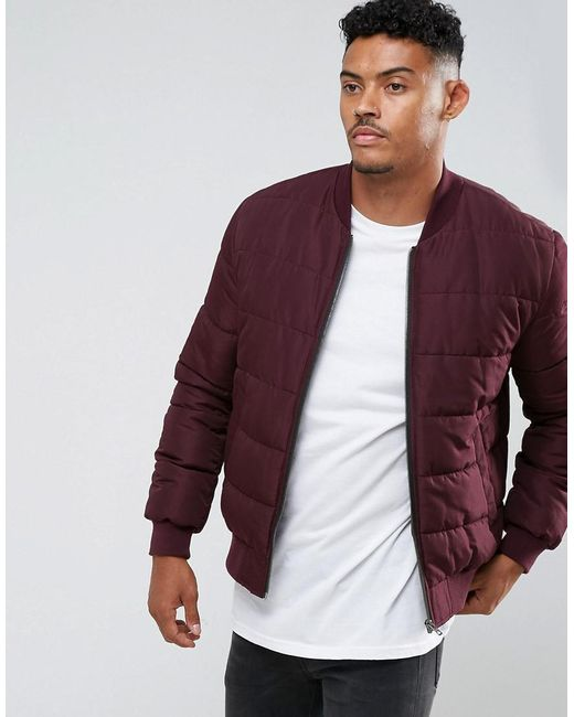 ASOS | Red Quilted Bomber Jacket In Burgundy for Men | Lyst