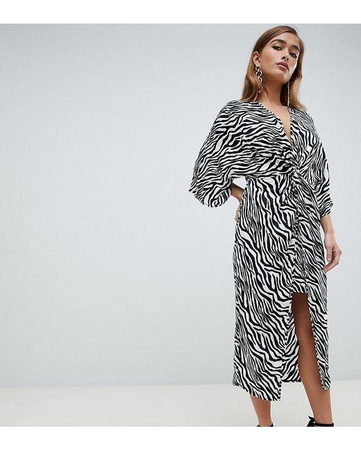 ASOS - Multicolor Asos Design Petite Kimono Dress In Midi Length In Zebra Animal Print - Lyst