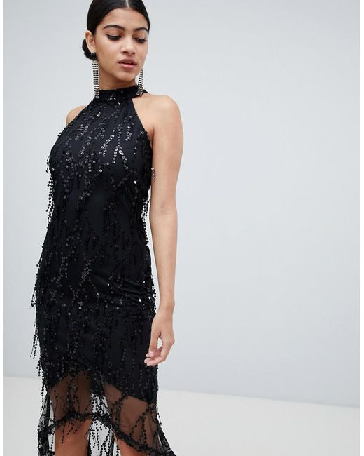 07f6fa7582a AX Paris - Black Racer Neck Midi Dress With Fringed Sequin Detail - Lyst ...