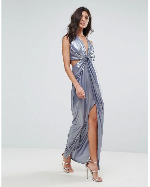 ASOS | Blue Metallic Cami Twist Front Maxi Dress | Lyst