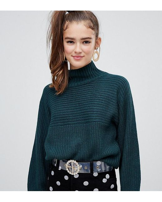 d8c05f7d03 Monki High Neck Ribbed Oversized Sweater In Dark Green in Green - Lyst