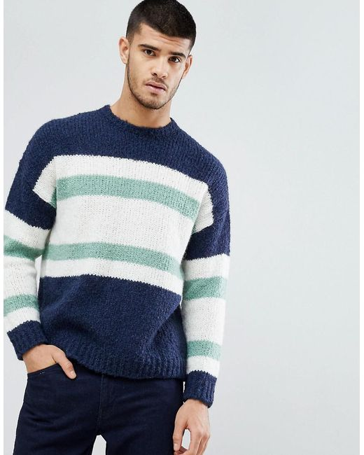 ASOS - Blue Knitted Jumper With Blocked Stripes In Navy for Men - Lyst