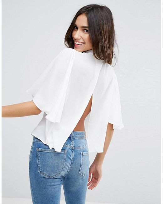 ASOS | White Pretty Sleeve Open Back Top | Lyst