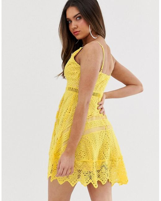 Love Triangle Cami Strap Plunge Front Lace Dress With Hanky