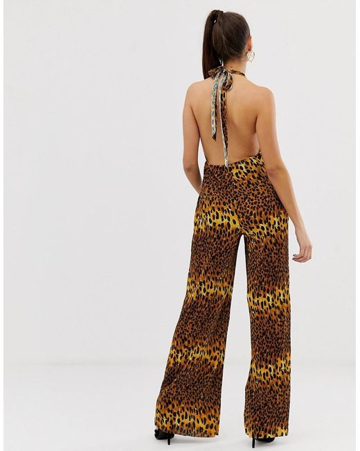 3d83e01940 ... ASOS - Brown Plunge Neck Plisse Jumpsuit In Leopard Animal Print - Lyst