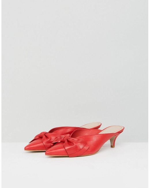 Acacia Leather Red Bow Kitten Heels - Red Carvela vmbSe7UQ