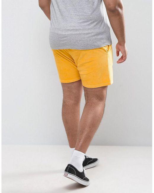 ... ASOS - Plus Shorts In Yellow Velour for Men - Lyst ...