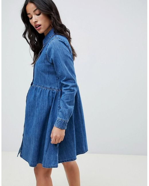 0b5a1e43998ef7 ... ASOS - Asos Design Maternity Denim Smock Shirt Dress In Midwash Blue -  Lyst