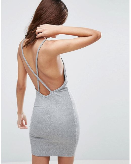 ASOS | Gray Mini Dress In Rib With Cross Back | Lyst