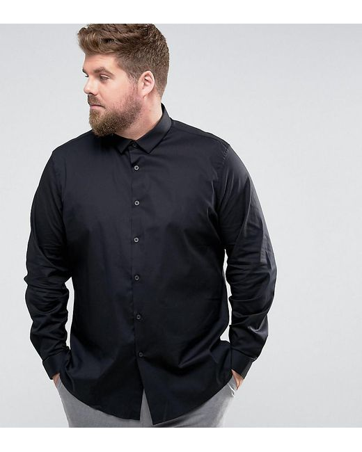ASOS | Plus Slim Shirt With Stretch In Black for Men | Lyst