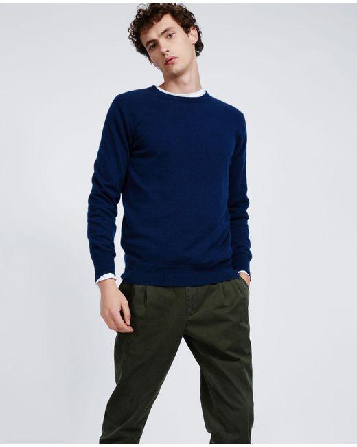 Aspesi - Blue Cashmere Roundneck Sweater for Men - Lyst