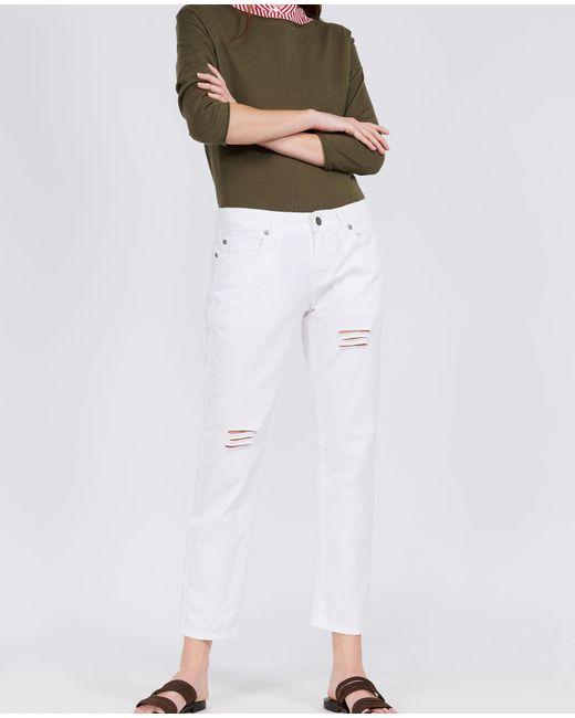 Aspesi - White Pure Cotton Trousers - Lyst
