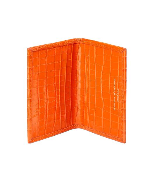 Aspinal - Orange Double Fold Credit Card Case - Lyst