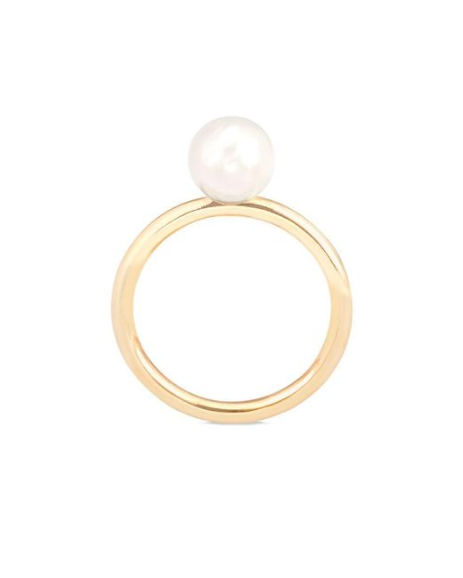 Aspinal | 8mm White Japanese Akoya Pearl Ring | Lyst