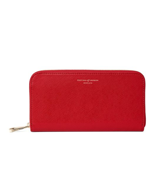 Aspinal - Red Continental Clutch Zip Wallet - Lyst
