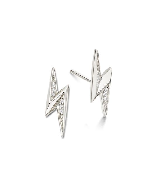 Astley Clarke | Metallic Mini Lightning Bolt Biography Stud Earrings | Lyst