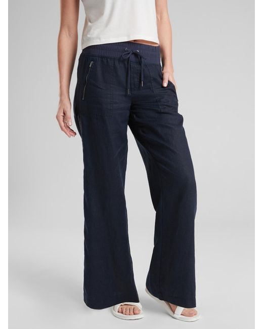 8222711a125 Lyst - Athleta Cabo Linen Wide Leg Pant in Blue