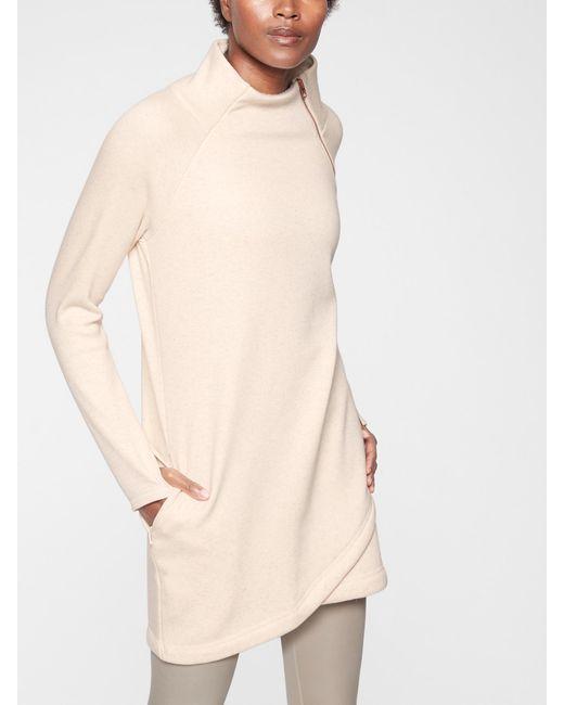 a0cdc1a572e Athleta Cozy Karma Asym Sweatshirt Dress in Natural - Lyst
