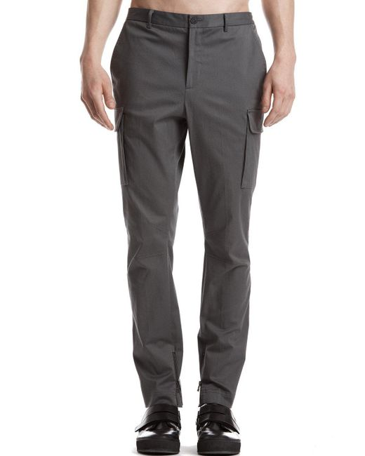 ATM | Gray Stretch Cotton Twill Moto Pants With Cargo Pockets for Men | Lyst