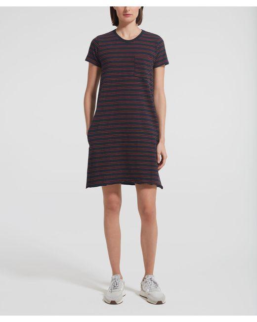 ATM Black Striped Short Sleeve Crew Neck Dress - Pavement/ Cedar Combo