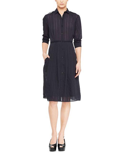 Atm pleated skirt shirt dress in black lyst for Black pleated dress shirt