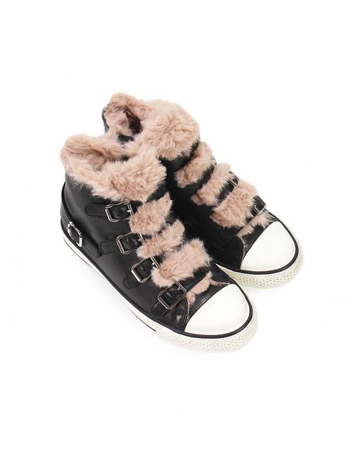 4fcd88c63e7a ... Ash - Black Valko Sneaker With Pink Faux Fur 36 - Lyst ...