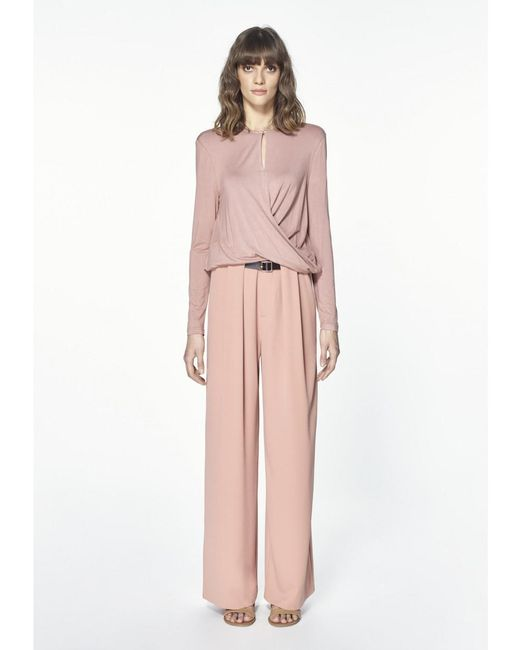 Paisie - Pink Jersey Top With Wrap Waist Detail In Blush - Lyst