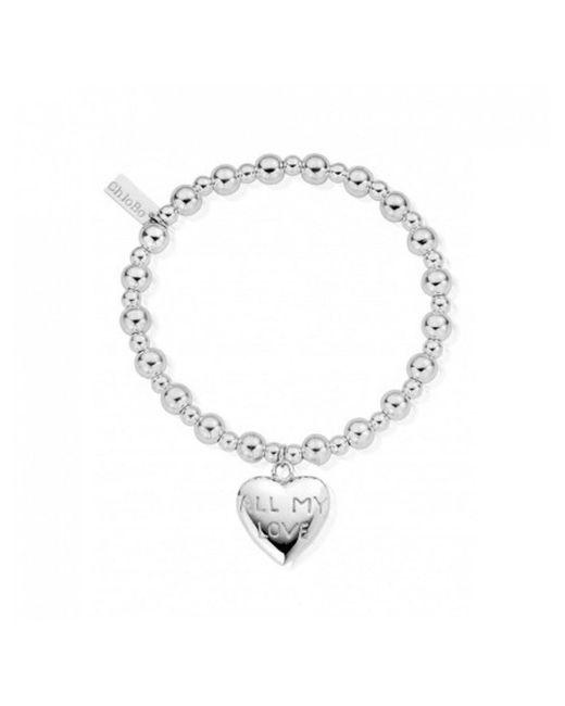 ChloBo - Metallic Mini Small Ball Bracelet With All My Love Charm - Lyst