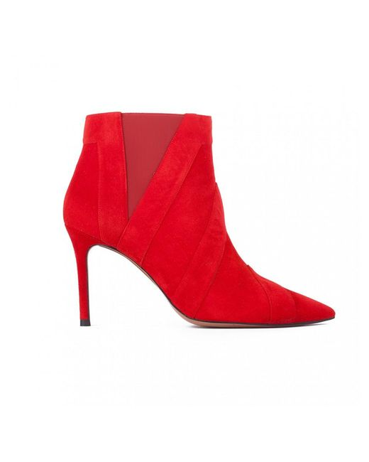 Atterley - Pura Lopez Narni Red Suede & Leather Ankle Boots - Lyst