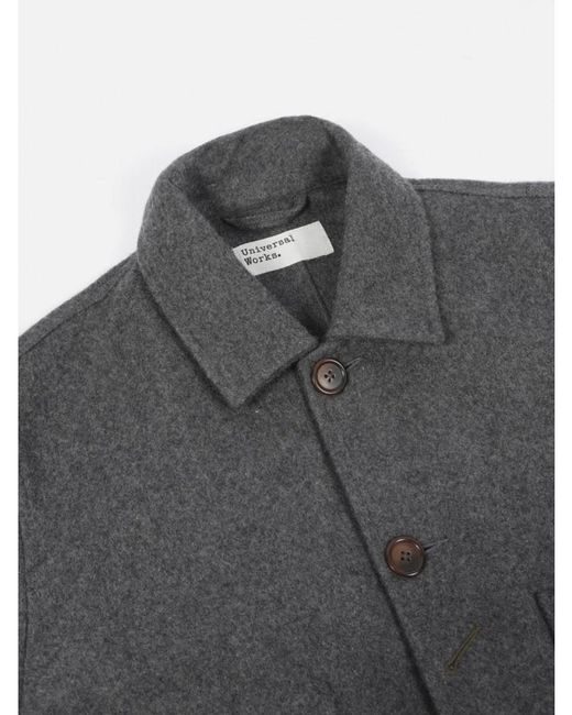 Universal Works - Gray Bakers Jacket Long In Mowbray Charcoal for Men - Lyst